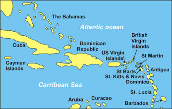 Map Of The West Indies And Barbados Where Joseph Hebden Arrived On The 20th January 1827 And Left For Portsmouth On The 23 February 1832